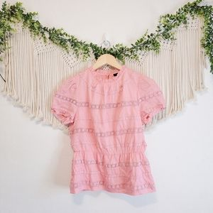 J.CREW Pink Floral Crochet Embroidered Short Sleeve High Neck Cotton Blouse XS